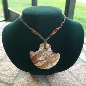 Boho adjustable macrame marble jasper necklace